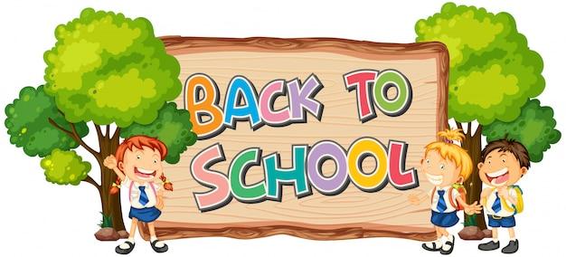 Plantilla de regreso a la escuela con estudiante