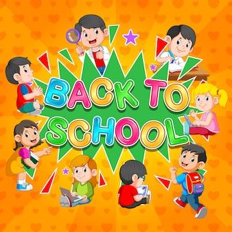 Plantilla de regreso a la escuela con estudiantes