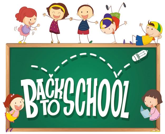 Plantilla de regreso a la escuela con niños doodle
