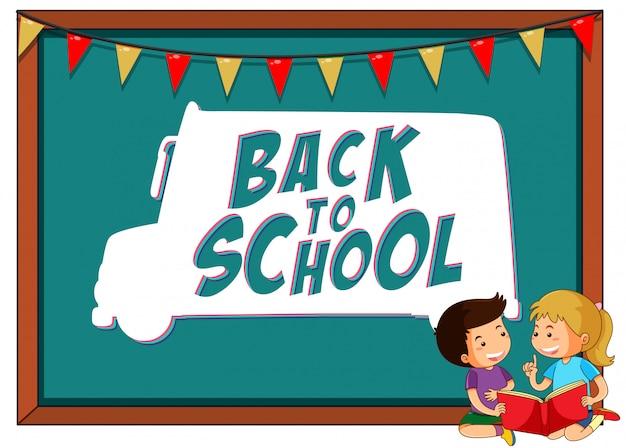 Plantilla de regreso a la escuela con niños