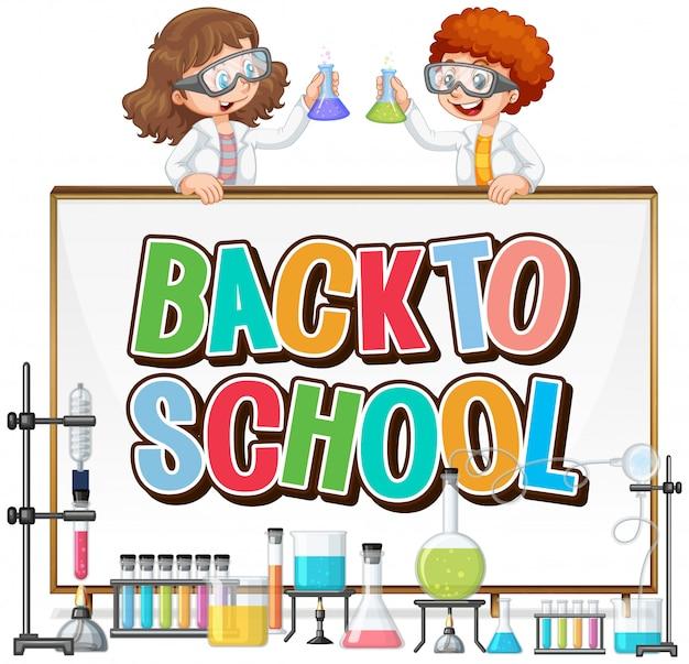 Plantilla de regreso a la escuela con tema de ciencia