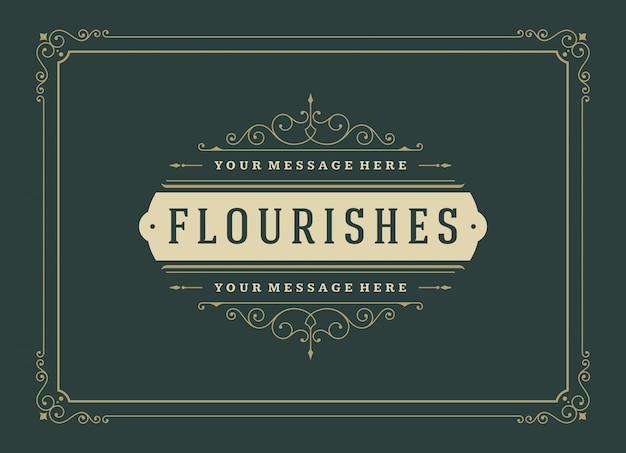 Plantilla de remolinos y viñetas ornamentadas caligráficas de tarjeta de felicitación de adorno vintage