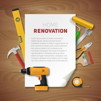 Plantilla de renovación del hogar con herramientas manuales realistas