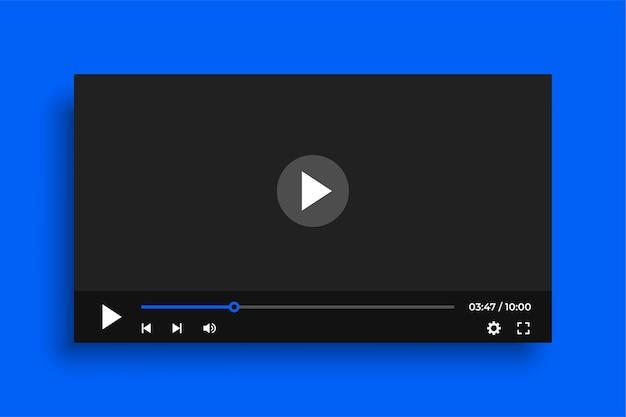 Plantilla de reproductor de video limpio con botones simples