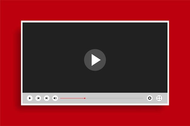 Plantilla de reproductor de video moderno y limpio de estilo plano