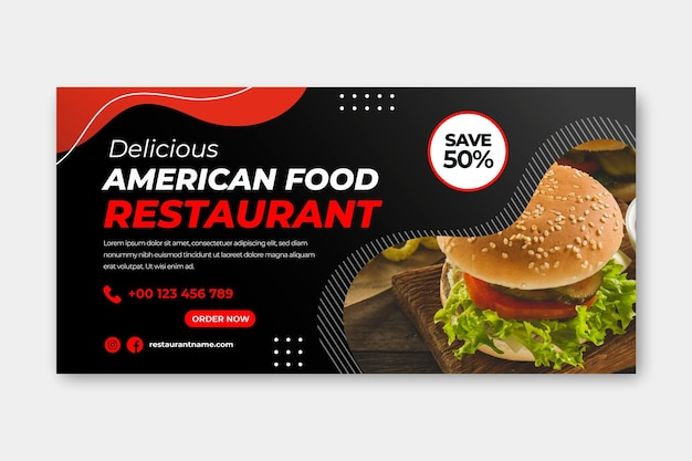 Plantilla de restaurante de comida americana
