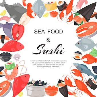 Plantilla de restaurante de mariscos y sushi