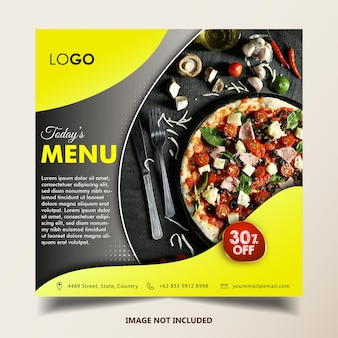 Plantilla de restaurante de menú de hoy en tamaño cuadrado para publicación de instagram