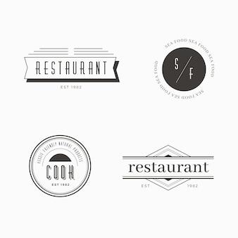 Plantilla de restaurante retro logo set