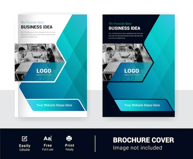 Plantilla de resumen de dos versiones de diseño de folleto de negocios colorido tema de portada