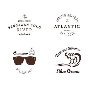 Plantilla retra de la etiqueta engomada de las insignias del verano