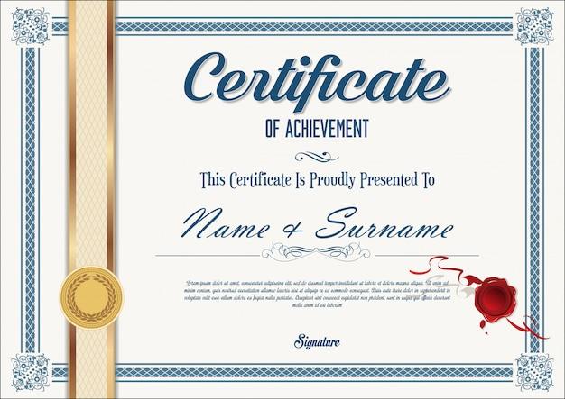 Plantilla retro certificado o diploma