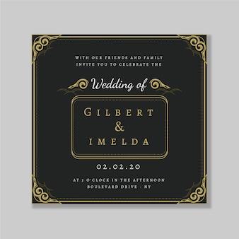 Plantilla retro de invitación de boda