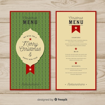 Plantilla retro de menú navideño