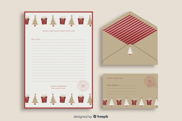 Plantilla retro de papelería de navidad