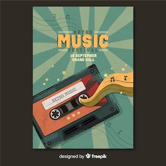 Plantilla retro de póster de música