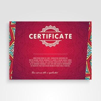 Plantilla retro roja étnica de certificado