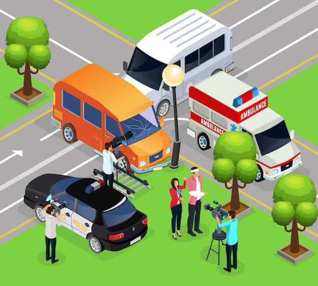 Plantilla de rodaje de reportaje isométrico con equipo de filmación haciendo un informe de la escena del accidente