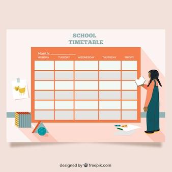 Plantilla roja de horario escolar de vuelta al cole