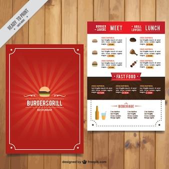Plantilla roja de menú de hamburguesería