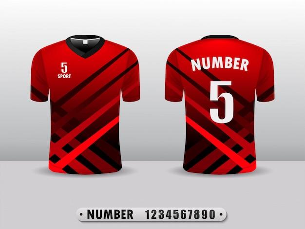 Plantilla roja del diseño del deporte de la camiseta del club de fútbol.