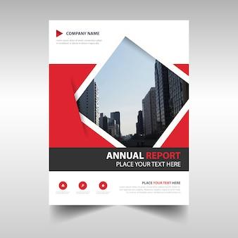 Plantilla roja geométrica abstracta de un reporte anual