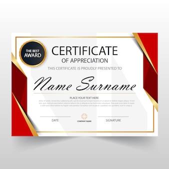 Plantilla roja horizontal de certificado