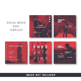 Plantilla roja transparente de publicación en redes sociales