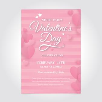 Plantilla romántica del cartel de la fiesta del día de san valentín