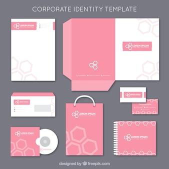 Plantilla rosada de la identidad corporativa