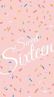 Plantilla de saludo de cumpleaños número 16 con fondo de confeti
