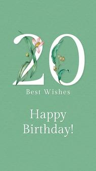 Plantilla de saludo de cumpleaños número 20 con ilustración de número floral