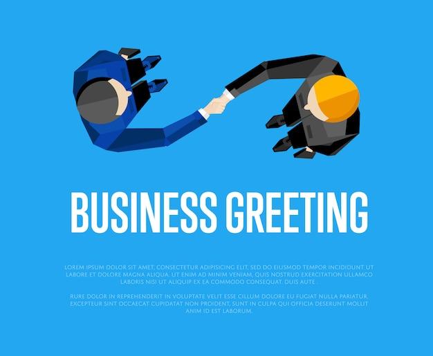 Plantilla de saludo empresarial, vista superior socios apretón de manos