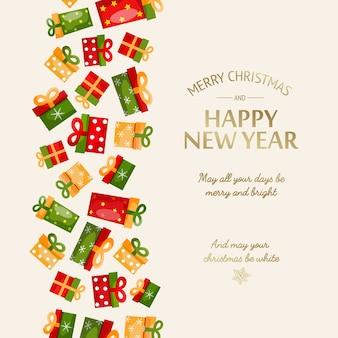 Plantilla de saludo de feliz año nuevo con inscripción caligráfica dorada y cajas de regalo coloridas en ilustración de luz