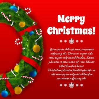 Plantilla de saludo de vacaciones de invierno con texto de corona verde y decoraciones festivas en rojo
