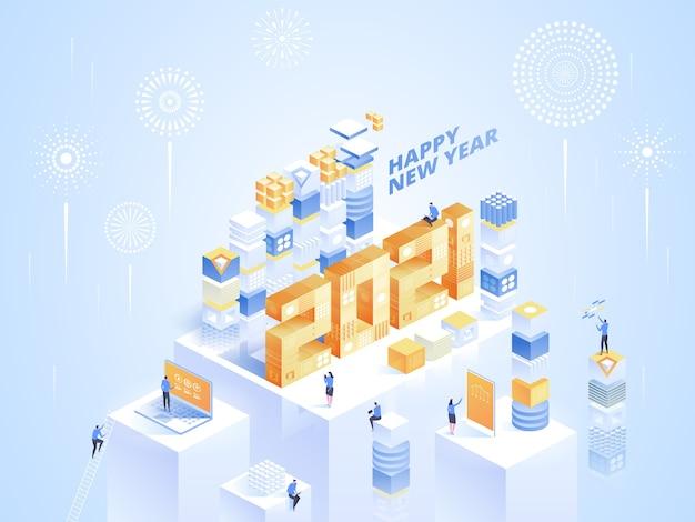 Plantilla de saludos de feliz año nuevo en vista isométrica por concepto de negocio. números enormes, fuegos artificiales, símbolos abstractos de empleados trabajan en la oficina. ilustración de personaje sobre fondo brillante