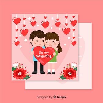 Plantilla de san valentín con pareja