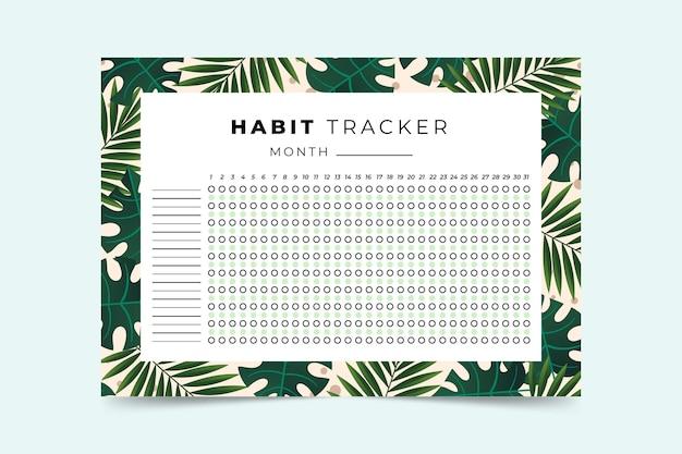 Plantilla de seguimiento de hábitos con hojas