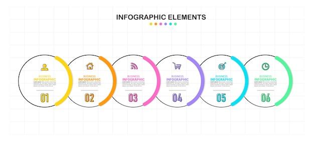 Plantilla de seis pasos de infografía creativa