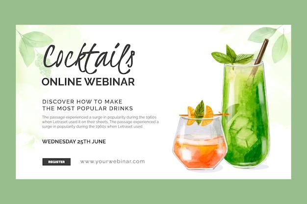 Plantilla de seminario web de cócteles de acuarela