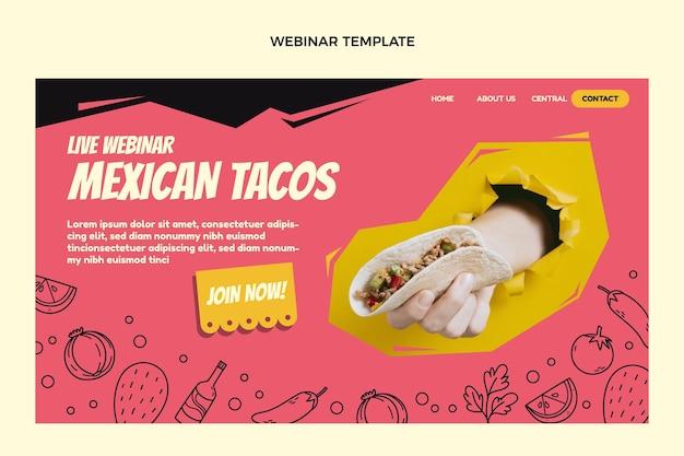 Plantilla de seminario web de comida mexicana de diseño plano