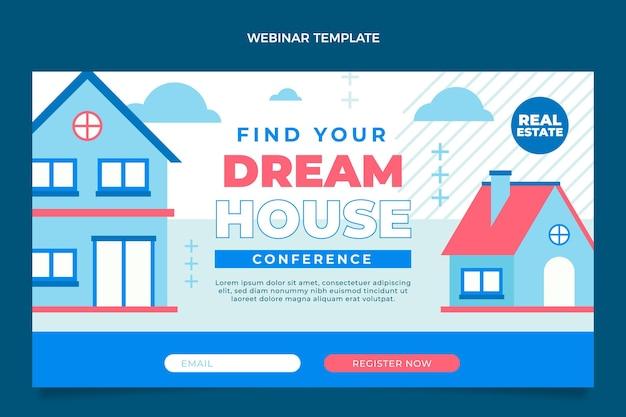 Plantilla de seminario web inmobiliario geométrico abstracto plano