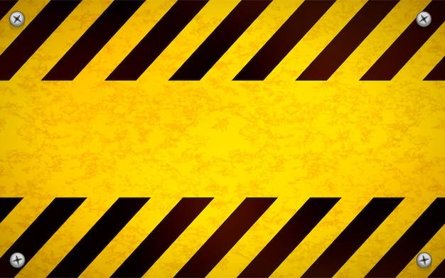 Plantilla de señal de advertencia en blanco amarillo brillante con tornillos de metal