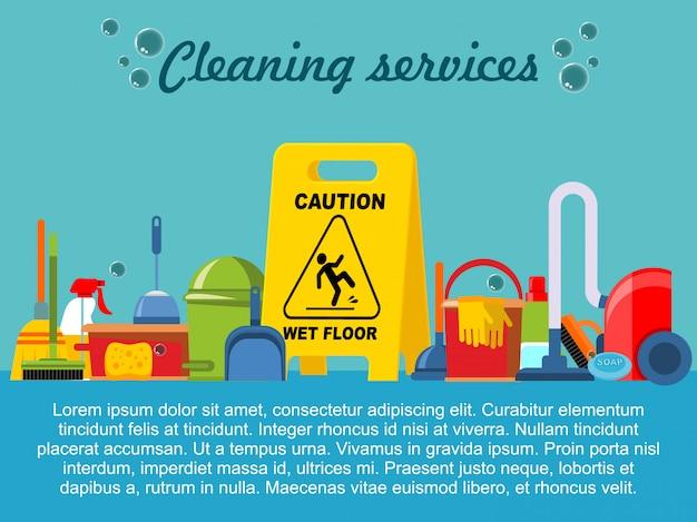 Plantilla de servicio de limpieza plana