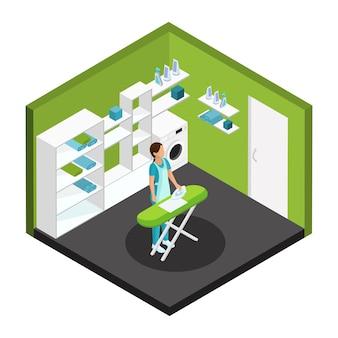 Plantilla de servicio de limpieza profesional isométrica
