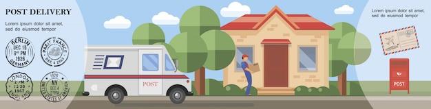 Plantilla de servicio postal plana con paquete de entrega de cartero al buzón de correo de la furgoneta del cliente y sellos de correo