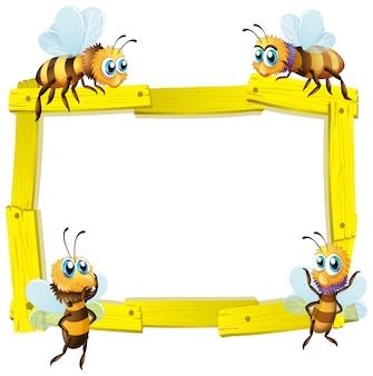 Plantilla de signo en blanco con muchas abejas sobre fondo blanco