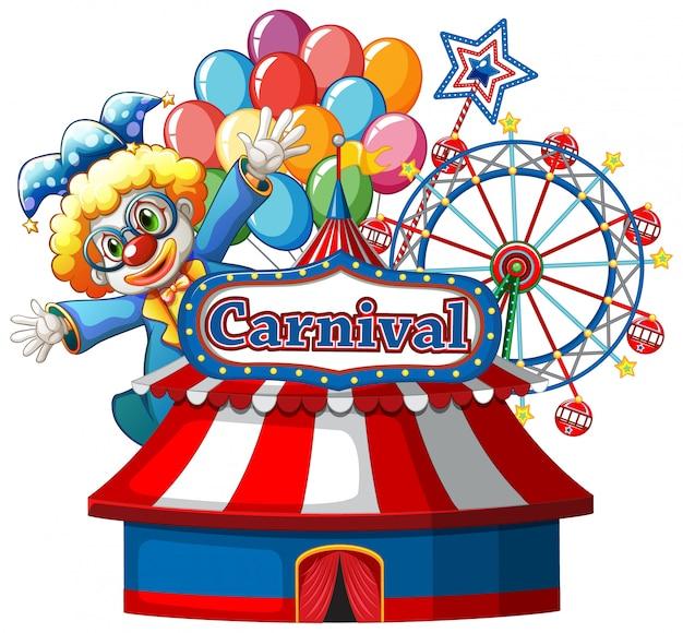 Plantilla de signo de carnaval con payaso feliz y noria en segundo plano.