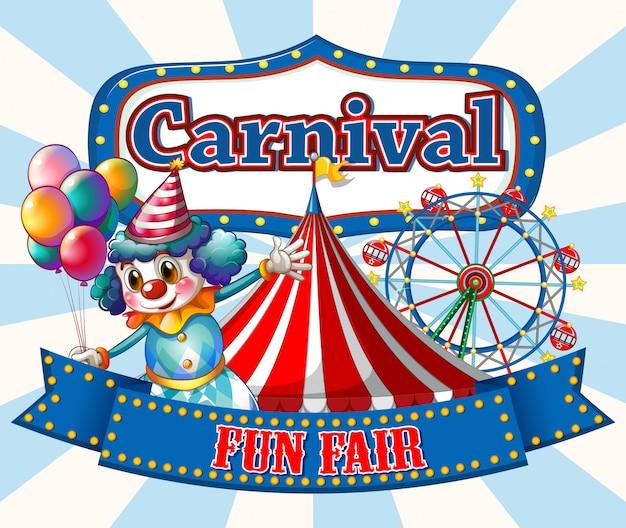 Plantilla de signo de carnaval con payaso feliz y paseos en segundo plano.