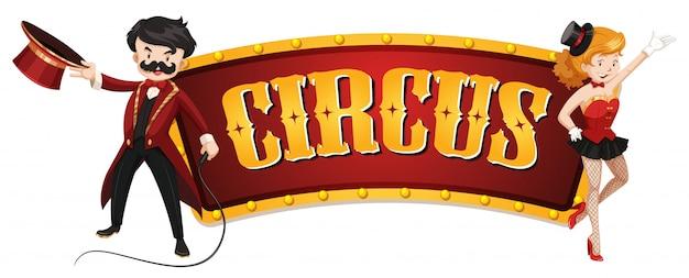 Plantilla de signo de circo con hombre y mujer